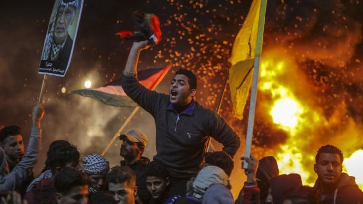 احتجاجات فلسطينية ضد قرار الرئيس الأمريكي ترامب الاعتراف بالقدس عاصمة لإسرائيل. dpa