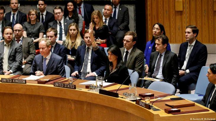 الفيتو الأمريكي ضد مشروع قرار في مجلس الأمن يرفض اعتراف واشنطن بالقدس عاصمة لإسرائيل. Foto: Reuters/B. McDermid