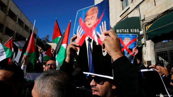 Protesters in East Jerusalem following Trump's decision on Jerusalem (photo: Reuters/A. Awad)