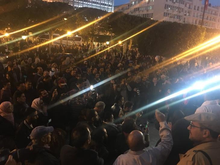 مظاهرات ضد زيارة ولي العهد السعودي إلى تونس