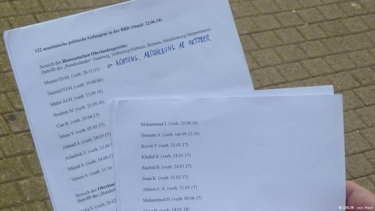 122 شخصا بالتمام والكمال موجودة أسماؤهم في قائمة  السلفي الألماني برنهارد فالك. ألماني - من يساري إرهابي إلى سلفي إسلاموي. Foto: DW