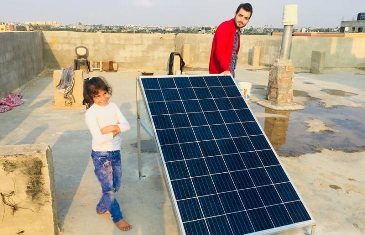 طاقة شمسية لمنطقة المغراقة في غزة. Foto: Inge Günther