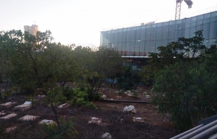 """مقبرة """"مأمن الله"""" الإسلامية في القدس وخلفها متحف التسامح.  (photo: Sarah Turkenicz)"""