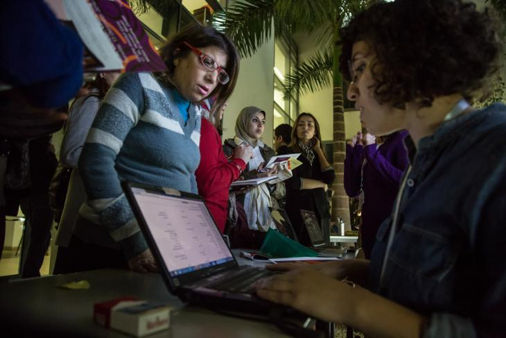 ضمن إطار مشروع الأكاديمية الثقافية الليبية شارك في صيف عام 2017 اثنى عشر شخصًا ليبيًا يعملون في الثقافة، أولاً في دورة تدريبية مدتها أسبوعين في تونس. Foto: Goethe-Institut Kairo/Roger Anis