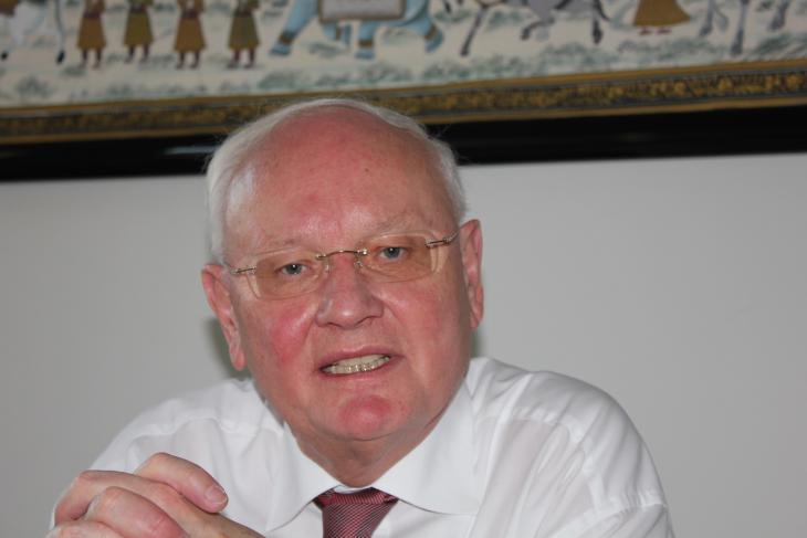 فولفرام سلوبينا الممثل الإعلامي لشهود يهوه في ألمانيا. الصورة ملهم الملائكة