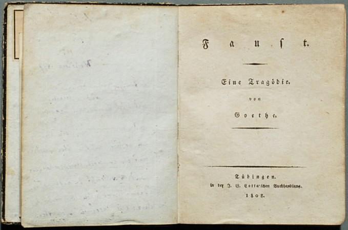 غلاف النسخة الأولى من ملحمة فاوست الأدبية من عام 1808 للأديب والشاعر الألماني غوته Goethe Faust I 1808 - Titelblatt der Erstausgabe von 1808  http://deacademic.com