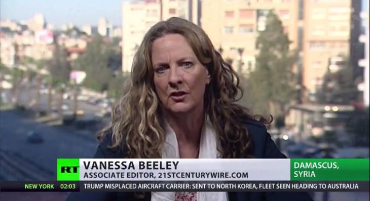 فانيسا بيلي على شاشة قناة روسيا اليوم الروسية.