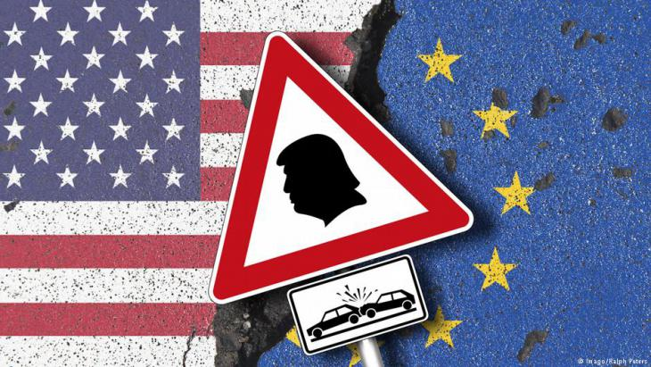 رمز للحرب التجارية المحتملة بين الولايات المتحدة الأمريكية والاتحاد الأوروبي. (source: Imago/Ralph Peters)