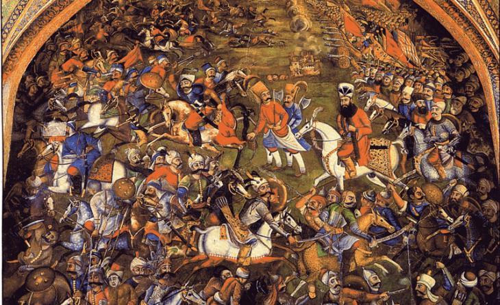 لوحة جدارية في أصفهان إيران تظهر معركة جالديران أو تشالدران بين العثمانيين والصفويين في عام 1514.  (source: Wikimedia Commons)