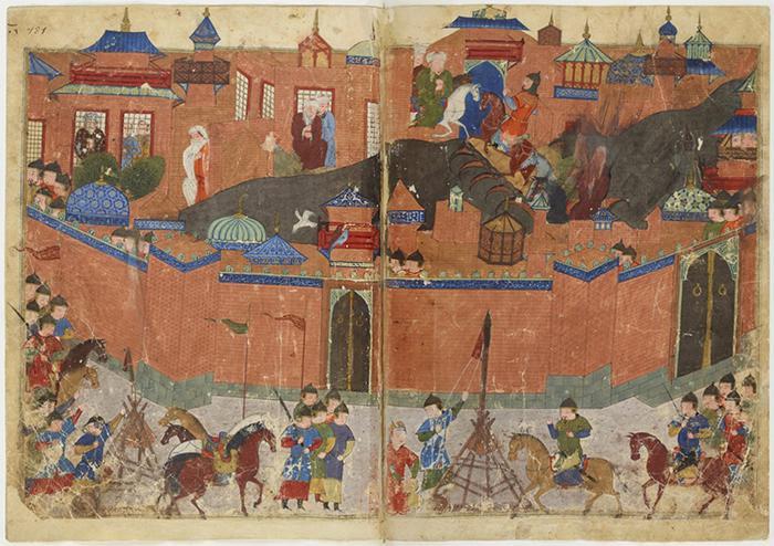 رسمة توضيحية ملونة تبين دخول المغول إلى بغداد - العراق.