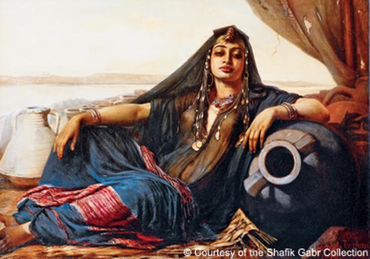 """""""بائعة فخار مصرية بالقرب من الجيزة"""" لِـ إليزابيث جيرشهاو باومان، عام 1876."""