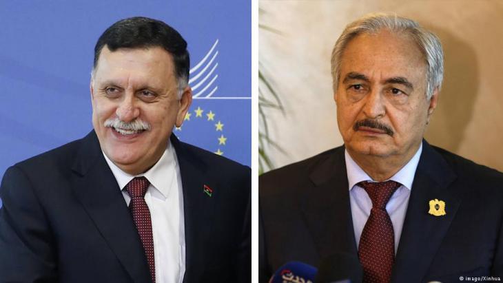 خليفة حفتر وفائز السراج - ليبيا