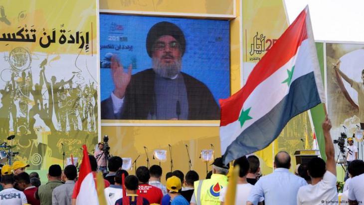 زعيم حزب الله حسين نصرالله خلال خطاب متلفز في بيروت