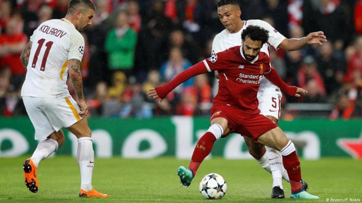 محمد صلاح وهو يلعب لصالح نادي ليفربول الإنكليزي ضد نادي روما الإيطالي بتاريخ 24 / 04 / 2018.  Foto: Reuters