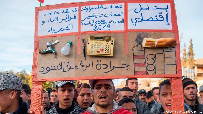 احتجاج على التهميش الاقتصادي في المغرب.
