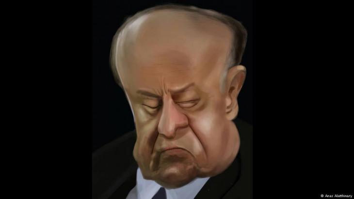 رسم ساخر يصف رئيس اليمن هادي في أحد الاجتماعات - لرسام الكاريكاتير اليمني أنس الأثوري. تعز - اليمن.