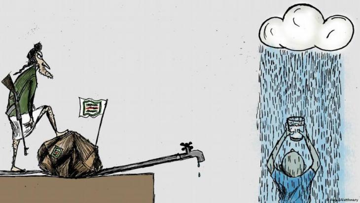 يشير الكاريكاتير إلى أزمة انقطاع الماء بسبب الحصار الحوثي على مدينة تعز. لرسام الكاريكاتير اليمني أنس الأثوري. تعز ، اليمن.