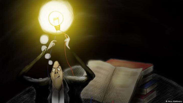 رسمة توضح مدى معانات الطلاب في ظل انقطاع الكهرباء. لرسام الكاريكاتير اليمني أنس الأثوري. تعز ، اليمن.