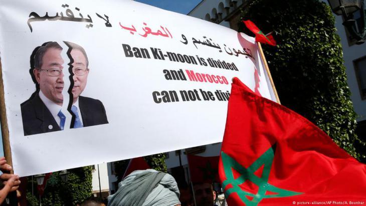 مظاهرة احتجاجية على بان كي مون في المغرب.