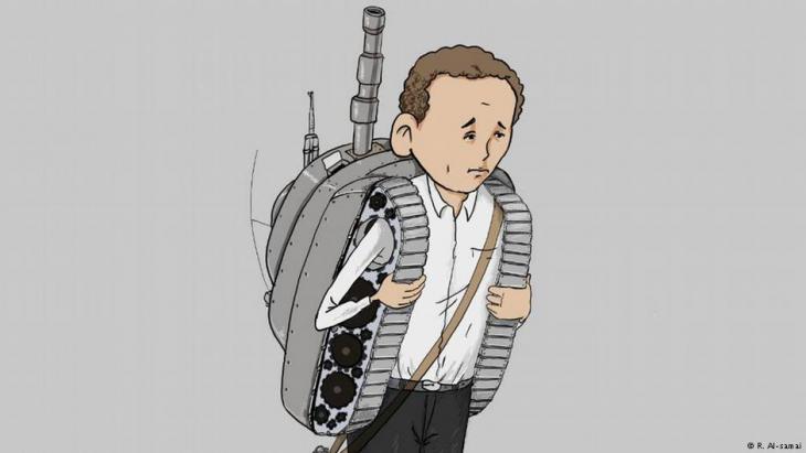 طفل يمني يحمل حقيبة قتال على شكل دبابة عوضاً عن حقيبة المدرسة. لوحة لرسام الكاريكاتير اليمني رشاد السامعي. تعز ، اليمن.