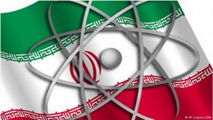 صورة رمزية. عَلَم إيران وعليه رمز الطاقة النووية [الراية الإيرانية مع رمز الطاقة النووية].