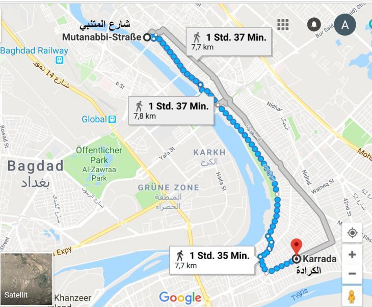 خريطة: المسار من شارع المتنبي إلى الكرادة - بغداد العراق. الخريطة: غوغل