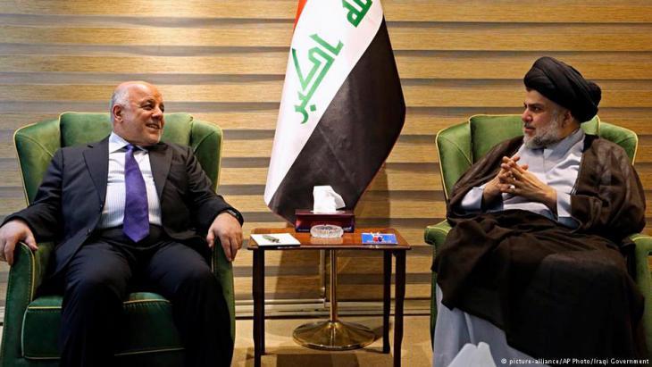 رئيس مجلس الوزراء العراقى الدكتور حيدر العبادى فى العاصمة بغداد مع رئيس  التيار الصدرى مقتدى الصدر