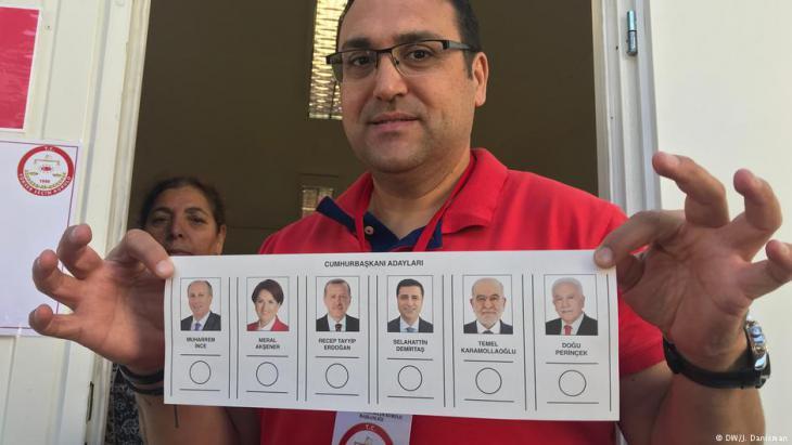 ستة مرشحين متنافسين على رئاسة تركيا، من بينهم محرم إنجه ورجب طيب إردوغان.