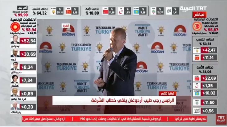 أعلن إردوغان (64 عاما) وحزبه العدالة والتنمية الأحد 24 / 06 / 2018 النصر في الانتخابات الرئاسية والبرلمانية متفوقين على المعارضة التي اكتسبت زخما كبيرا وبدا أنها قادرة على قلب النتيجة.