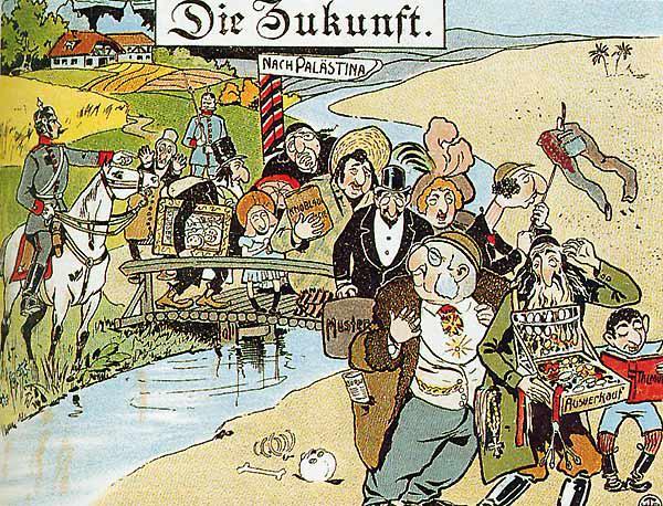 """كاريكاتير معادٍ للسامية من عام 1900 من عهد القياصرة في الأراضي الألمانية - ألمانيا. Quelle: Geschichtsbuch """"Zeiten und Menschen 1"""""""