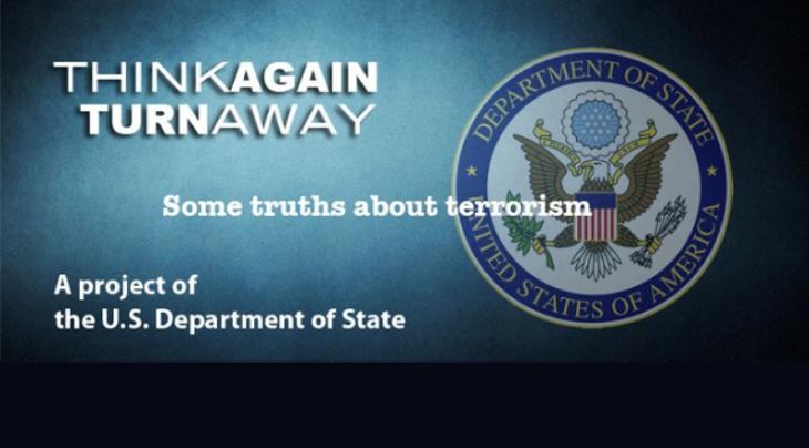 """Tإعلان حملة وزارة الخارجية الأمريكية """"فكّر مرة أخرى وابتعد"""" لمكافحة التطرف. (U.S State Department)"""