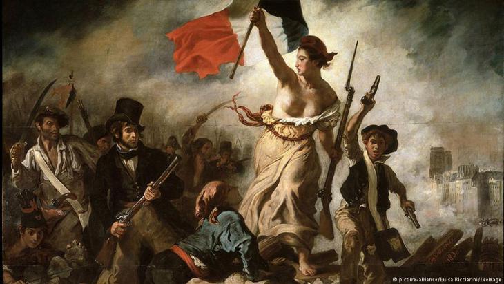 """في الصورة رمز للثورة الفرنسية لوحة الفنان ديلاكروا   """"حرية الشعب""""."""