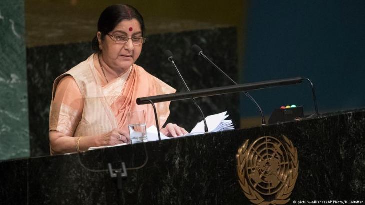 وزيرة خارجية الهند سوشما سواراج على منصة الأمم المتحدة 29 / 09 / 2018.  (photo: picture-alliance/AP Photo/M. Altaffer)