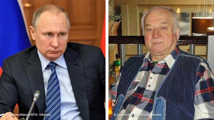صورة مُركَّبة للرئيس الروسي فلاديمير بوتين والجاسوس الروسي المزدوج سيرغي سكريبال المتهمة موسكو بمحاولة اغتياله في بريطانيا.  picture-alliance/Globallookpress)