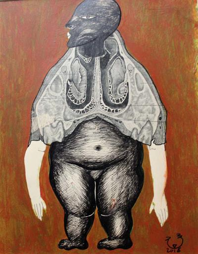 """لوحة """"بدون عنوان"""" 2018 للفنانة التشكيلية المصرية سعاد عبد الرسول."""