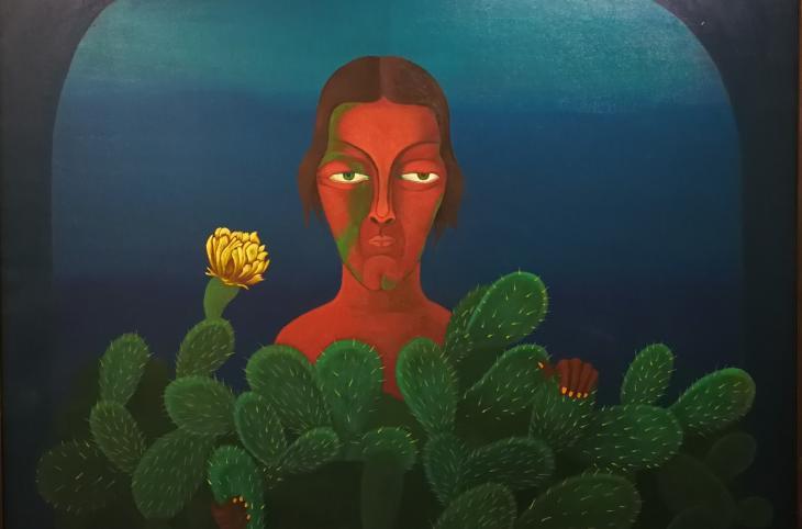 """لوحة """"الألم"""" 2018 للفنانة التشكيلية المصرية سعاد عبد الرسول."""