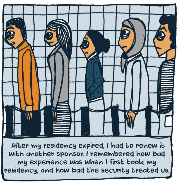 """تركيز على وصم اللاجئين السوريين وإقصائهم: """"كنت مستاءة لأنَّه في عام 2015 كان يوجد الكثير من العنصرية ضدَّ اللاجئين السوريين، وكنت أريد أن أقول شيئًا ضدَّ هذه العنصرية. لم أجد الكلمات الصحيحة ولذلك أردت أن أُجرِّب التعبير بطريقة بسيطة. واخترت التوثيق على شكل رسومات هزلية وقصص مصوَّرة """"، مثلما تقول الفنَّانة والصحفية رواند عيسى."""