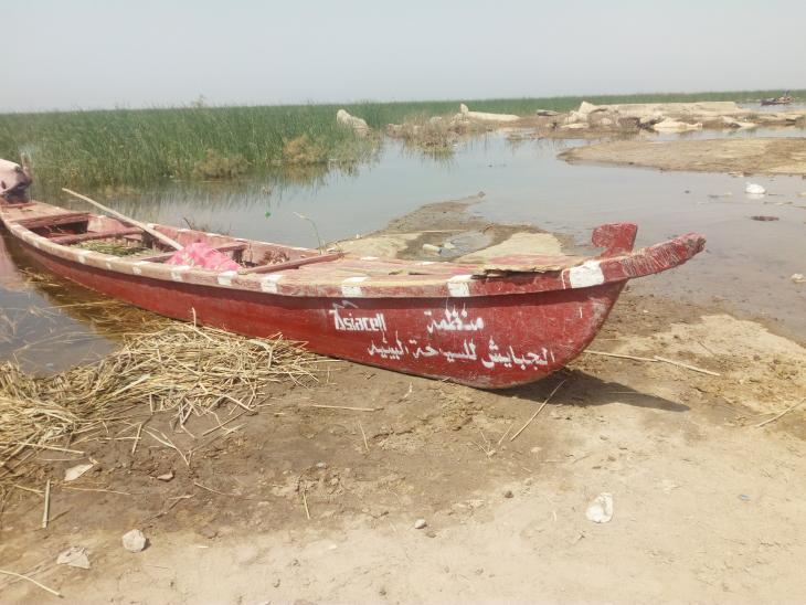 قارب فارغ في هور الجبايش العراقي. الصورة: ملهم الملائكة