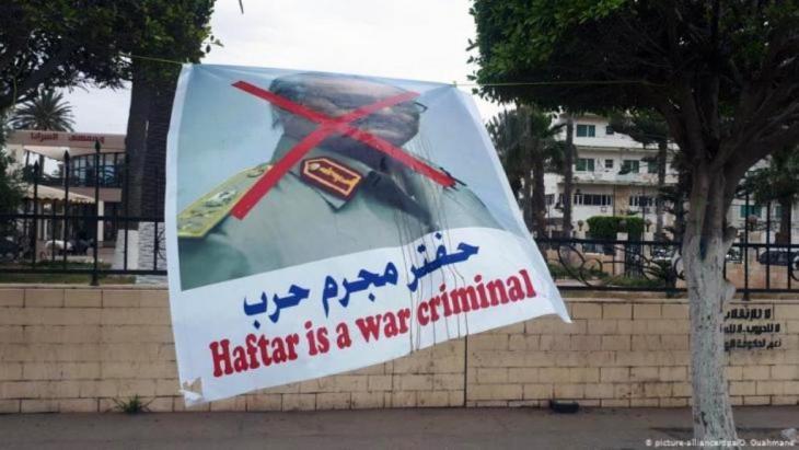حفتر مجرم حرب. ملصق في طرابلس. الصورة/ د ب ا و بيكتشر أليانس