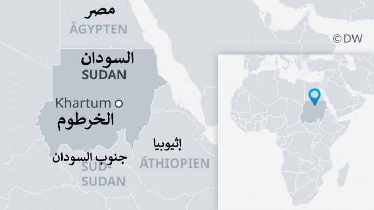 خريطة السودان وجنوب السودان ومصر وإثيوبيا وما حولها.
