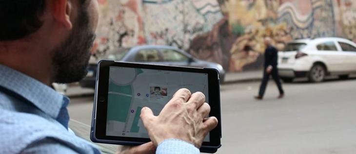تطبيق فيديو إلكتروني بنشاط أرشيفي متاح للجميع في عصر الرقمنة البصرية من أجل كسر السيطرة الصارمة على الفضاء العام. القاهرة ،  مصر. | الصورة: © كايا بهكلام