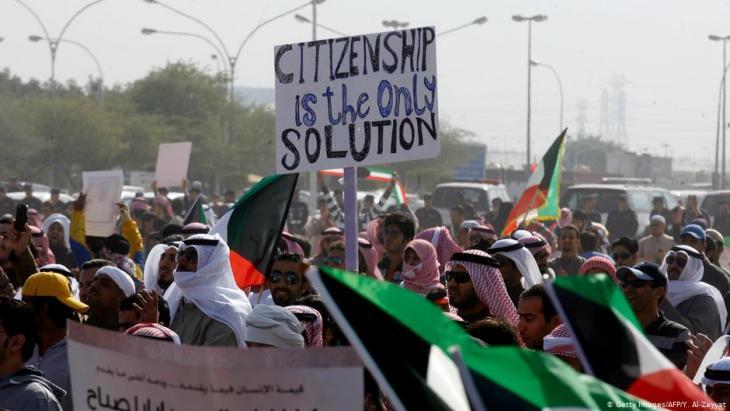 Iيطالب البدون باستمرار بمنحهم الجنسية الكويتية وحقوقهم المدنية. Foto: getty images/afp/Y. Al Zayyat
