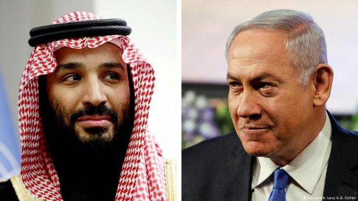 بنيامين نتنياهو (إسرائيل) ومحمد بن سلمان (السعودية). Foto: Reuters/A.Levy & A.Cohen