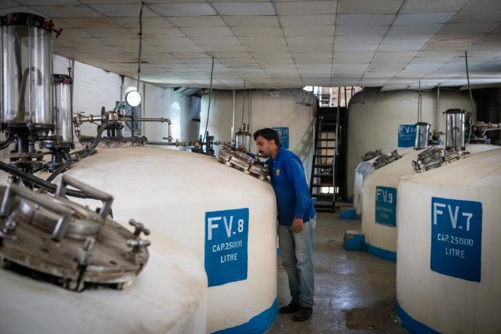 مهندس يتفقد حاويات يتم فيها إنتاج البيرة الكحولية في مرافق مصنع الجعة في روالبندي -  قرب إسلام أباد - باكستان. Foto: Philipp Breu