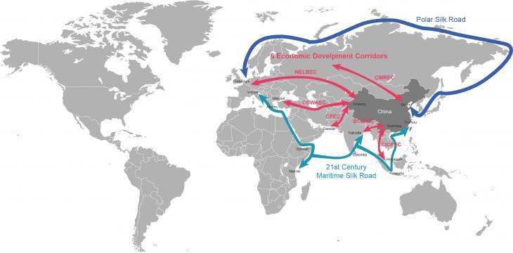 خريطة توضح التطور المتوقع لمبادرة الحزام والطريق الصينية. (source: beltroad-initiative.org)