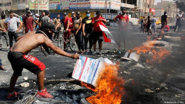 مظاهرات واحتجاجات على الفساد وسوء أحوال المعيشة - بغداد - العراق.
