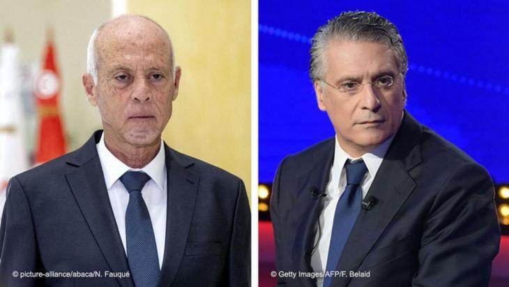 قيس سعيّد ونبيل القروي مفاجأة الجولة الأولى من رئاسيات تونس.