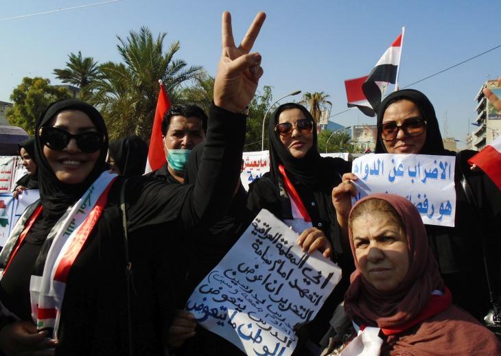 احتجاجات ضد الحكومة في ساحة التحرير - بغداد العراق. Foto: Birgit Svensson