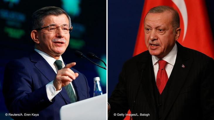 رئيس الوزراء التركي السابق أحمد داود أوغلو  والرئيس التركي رجب طيب إردوغان.(photo: Laszlo Balogh/Getty Images)