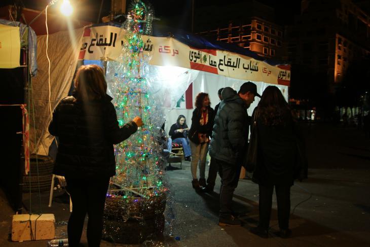 Mini-Weihnachtsbaum auf dem Märtyrerplatz in Beirut; Foto. Hanna Resch
